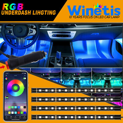 RGB LED Interior Under Dash Footwell Light Kit for All Cars Light APP Control