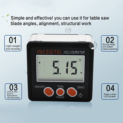 Mini LCD Digital Inclinometer Protractor Bevel Angle Magnet Gauge Apparatus Tool