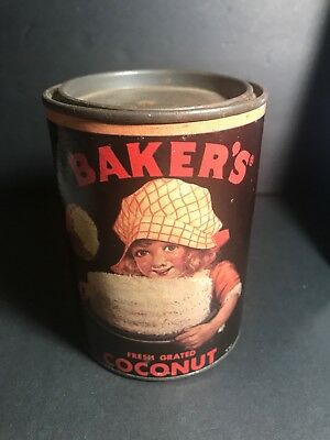 Baker's Coconut Can  Bank Tin Metal Vintage Advertising