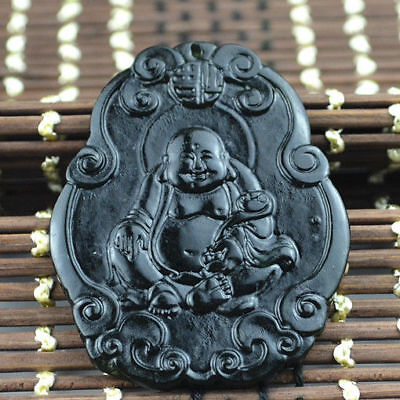 Pendant statue  natural necklace Chinese Buddha jadeite Amulet black green jade