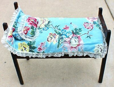 Antique Mission Arts and Crafts Doll Bed Cradle c.1930's Stickley with Bedding