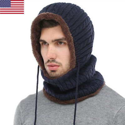 3 IN 1 Women Cashmere Thick Winter Warm Knitted Hooded Scarf Headscarf Hat 543