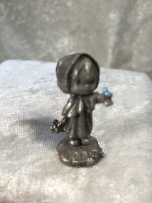 Vintage 1977 Hallmark Little Gallery Betsey Clark Pewter Girl With Bird