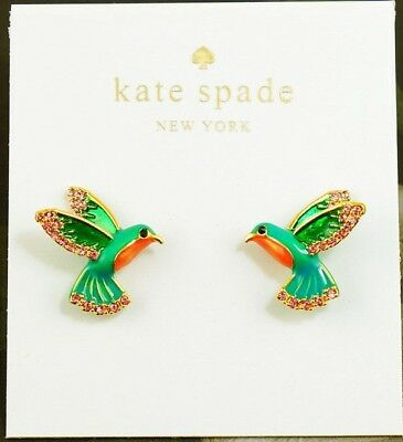 Kate Spade 14k Gold Plated Scenic Route Green Pave Cactus Stud