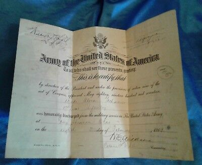 Vintage WWI World War 1 Military ARMY Certificate Record Honorable Discharge
