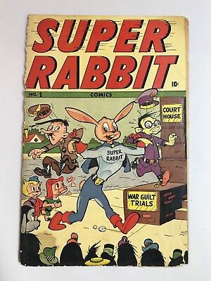 Very Rare 1944 Timely SUPER RABBIT #1 * WWII HITLER & TOJO Cover! Super Nazi!
