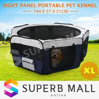 Portable Pet Playpen Soft Dog Puppy Cat Exercise Crate Travel Cage Tent Blue 8