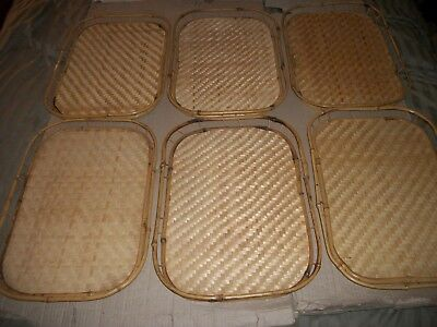 6 Vintage Bamboo/Wicker/Rattan Woven Serving/Lap Breakfast Bed Trays