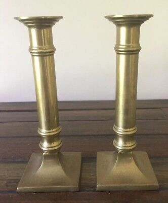 Brass Candlestick Holders X2 Vintage 18.5cm High Very Good Condition