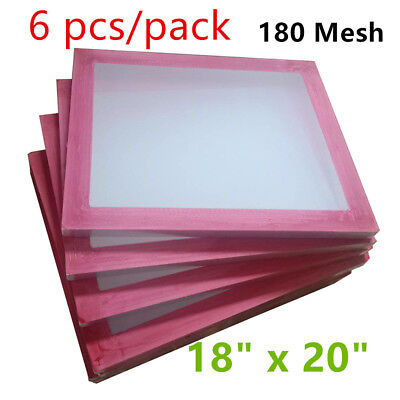 """6pcs 18""""x20""""Aluminum Screen Printing Screens with 180 White Mesh Count Brand New"""