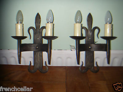 wrought iron French gothic castle pair 2 lights sconces