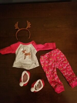 "New American Girl Doll Christmas Holiday Festive Reindeer Pajamas 18"" dolls PJs"