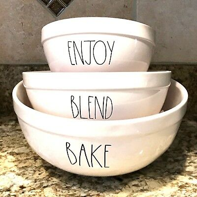 Rae Dunn BAKE BLEND ENJOY Mixing Bowls Set of 3 HTF LL Black Farmhouse Brand New