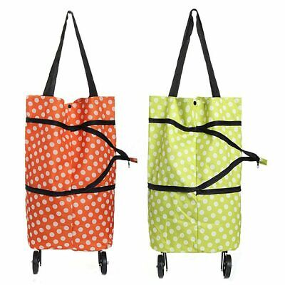 Large Lightweight Trolley Wheel Wheeled Folding Shopping Luggage Bag Cart D6M6