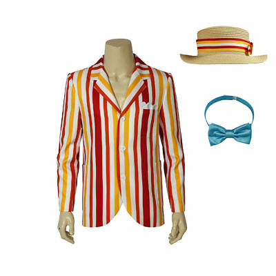 Hot! Mary Poppins Bert Cosplay Costume Jacket with Hat and Bow-tie