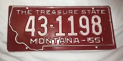 1955 Montana License Plate - Excellent Condition