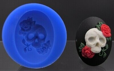 Skull with roses Silicone Cameo mold
