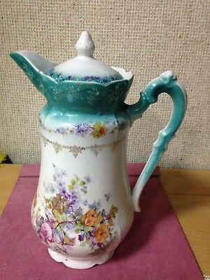 Vintage Antique European  Hand Painted Porcelain Victorian Ewer Pitcher