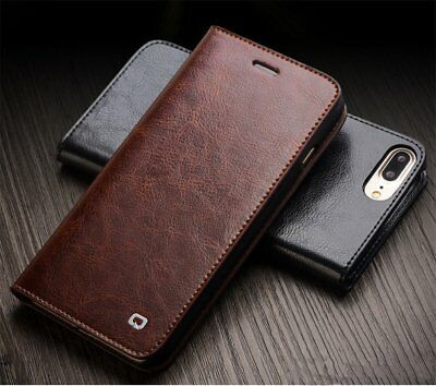 Genuine QIALINO Flip Real Leather Cover Case Fr Apple iPhone 6/6s/X/7/8 Plus HZ