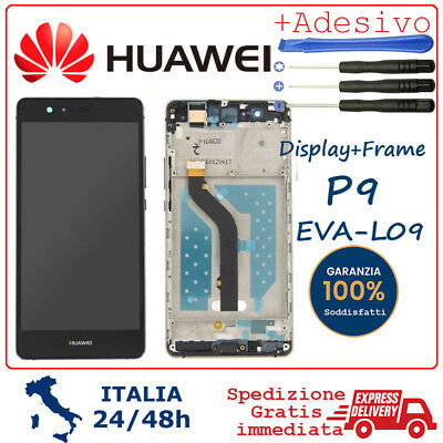 Display LCD HUAWEI P9 EVAL-09 FRAME schermo Originale TOUCH SCREEN NERO