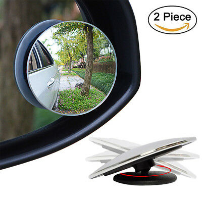 2 Pcs 360°Frameless Blind Spot Mirror Wide Angle HD Convex Rear View Mirror