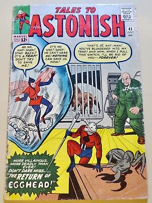 18-C1625: Tales to Astonish # 45, 1963,  VG 4.0! EGGHEAD! See X-Mas Promo