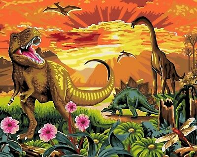 """DINOSAURS PAINTING PAINT BY NUMBERS CANVAS KIT 20"""" x 16"""" FRAMELESS"""