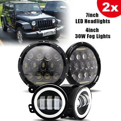 "2pc 7"" 75W LED Headlights Fits Jeep Wrangler JK & 2pc 6000K Fog Lights 4 inch"