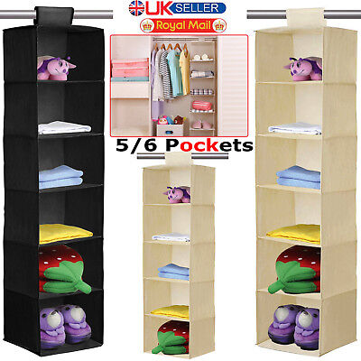 5 6 Section Canvas Fabric Wardrobe Clothes Hanging Rail Shelves Storage Cupboard