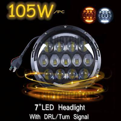 """pair 7"""" LED Daymaker projector Headlight Harley Davidson Touring Road King"""