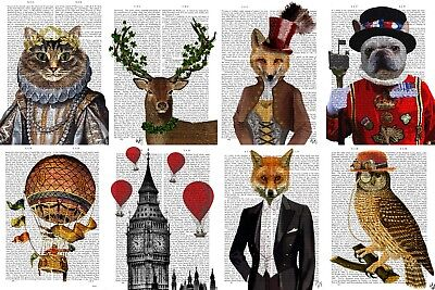 1x FAB FUNKY Art Print Antique British Dictionary Page Vintage Gift Animal *£17