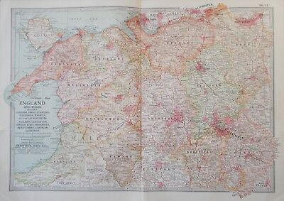 Map of Cheshire, Shropshire, North Wales. 1902.LIVERPOOL. MANCHESTER.