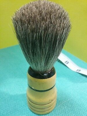 A VINTAGE WOODEN SHAVING BRUSH HANDLE with NEW BADGER BRUSH