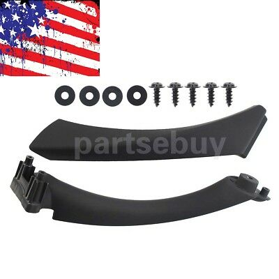 Black Inner+Outer Door Panel Handle Pull Trim Cover for BMW E90 328i Right Side