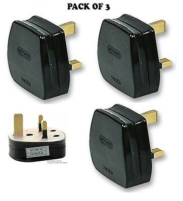 UK MAINS PLUG, BLACK (3A FUSE FITTED) Pack of 3