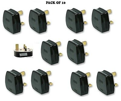 UK MAINS PLUG, BLACK (3A FUSE FITTED) Pack of 10