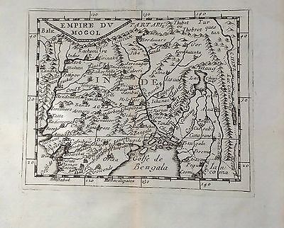 India,original Map , Pierre Du Val, 1676