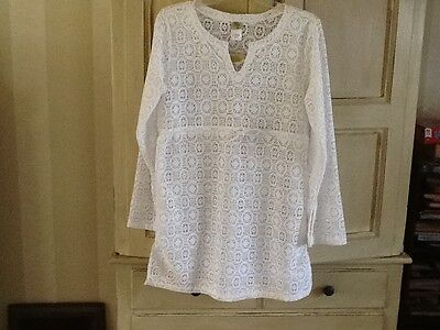 ac90666a56 SOLITAIRE SWIM WOMENS White Crochet Swimsuit Cover-up Size S -  6.00 ...