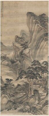 Chinese antique scroll painting Sansui landscape Travel mountain with my zither