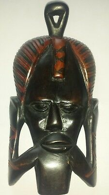 "8"" African Tribal Art Wooden Carving Wall Ornament Face"
