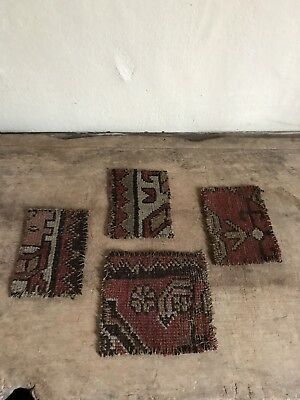 4 Early Antique Muted Oriental Rug Coasters Table Mats Country Textile AAFA