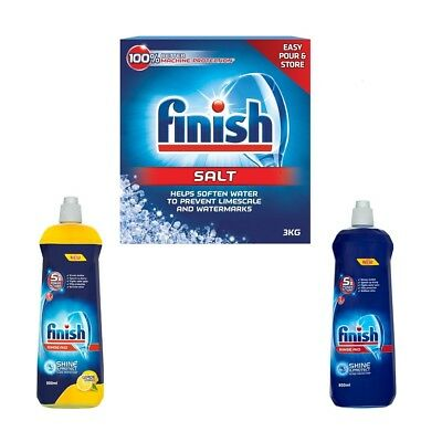 FINISH DISHWASHER SALT 3Kg RINSE AID LIQUID 800ml ORIGINAL LEMON WATER SOFTENER
