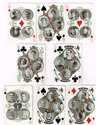 1896 Actors/actresses Playing Cards. Lot Of 8 Very Nice! 19Th Century 1800's.