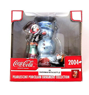 Christmas Ornament Coca Cola Porcelain Snowman Pearlescent 2004