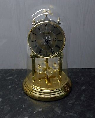 Lovely German Quartz Anniversary Clock, with glass dome