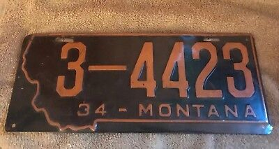 1934 Montana License Plate - Excellent Condition