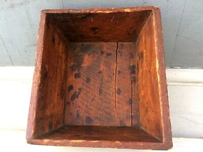 Primitive Wood Carrying Box Red Wash Super Patina
