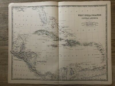 1876 West Indies Central America Antique Hand Coloured Map By A.k. Johnston