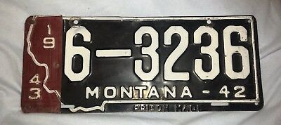 1942/43 Montana License Plate - Good Condition