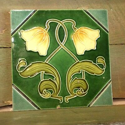 Original Art Nouveau Majolica Tile By J Barratt  c.1905     # 127
